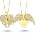 Aşkın Kanatları Gümüş Kalp Kolye İsim Kolye İsimli Kolye wsn149b