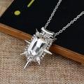 Zelina Glinda beyaz kristal Gümüş Kaplama kolye