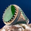 Şık Tasarım Zirkon Yeşil Taşlı Yüzük Gümüş Erkek Yüzük