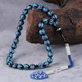Tesbihcibaba Kamçılı Tasarım Mavi İşlemeli Kuka Tesbih TB4336