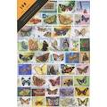 PULKO 100 Çeşit Damgalı Kelebek ile Güve Temalı Pul Koleksiyonu