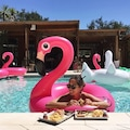 Pembe Flamingo Float Deniz Simidi