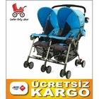 Sunny Baby SB-760 Mavi Renk Flamingo İkiz Bebek Arabası