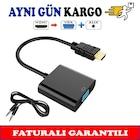 Hdmi to Vga Kablo Çevirici Dönüştürücü Kablo + Ses Kablo Destekli