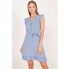 Kadın Mavi Fırfırlı Desenli Elbise