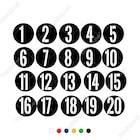 1'Den 20'Ye Kadar Yuvarlak İçinde Şablon Rakam Sayı Sticker