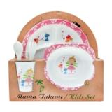 Prenses Melamin Bebek Mama Yemek Tabağı Kabı Bardak Kaşık 5li set