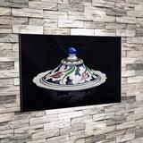 Çini Sanatı Kapaklı Tabak Kase 50x70cm Dekoratif Kanvas Tablo