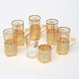 6'lı Limonata Altın Sarı Metal Bardak Set