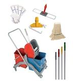 Temizlik Seti Temizlik Arabası Full Lüks - Islak Mop - Nemli Mop