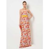 ROMAN Çiçekli Straplez Elbise
