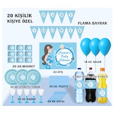 20 Kişilik Baby Shower Parti Seti Afiş , Magnet, Kadehli