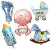 Baby Shower Bebek 5'li Folyo Balon Parti Set HOŞGELDİN BEBEK Mavi