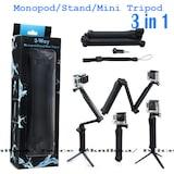 GoPro Aksiyon Kamera Monopod Çubuğu Stand Mini Tripod 3in1