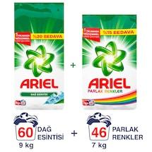 Ariel Dağ Esintisi 9 Kg + Parlak Renkler Çamaşır Deterjanı 7 Kg