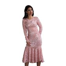 a2310379ad97d Barevsu Kadife Payet Eteği Volanlı Kadın Abiye Elbise 160