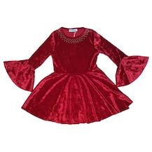d319d785a1541 DOBAKİDS İspanyol Kollu Kız Çocuk Kadife Elbise Kırmızı 3-12 Yaş