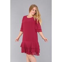 8581c76d9ace7 Rmg Omuz Detaylı Fırfırlı Büyük Beden Elbise Violet