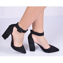 Siyah Süet Kapalı Burun Kalın Topuklu Bayan Stiletto Ayakkabı