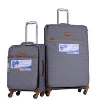 78cfd19d1c1e6 IT Luggage Büyük ve Kabin Boy Kumaş İkili Valiz Set Çizgili Siyah