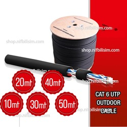 Yüksek Bakır UTP 23awg 0.58mm Dış Ortam Cat6 Outdoor Kablo Metre