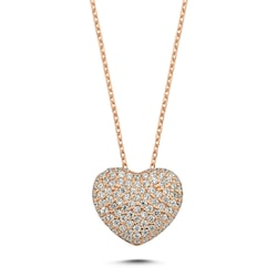 *Aşk Gümüş Kadın Kalp Kolye