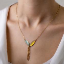 İtalyan tasarım altın kuş tüyü figürlü kolye
