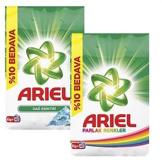 Ariel Toz Çamaşır Deterjanı 40 Yıkama Dağ Esintisi 6 KG + Parlak Renkler 6 KG