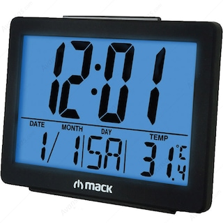 Mack MCT-8017 Masa Üstü Saat Siyah Alarm-Snooze-Calender-Thermome
