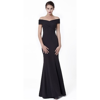 4ee88c84892d5 Siyah Renk Göğüs Ve Kol Drapeli Uzun Abiye Elbise - n11.com