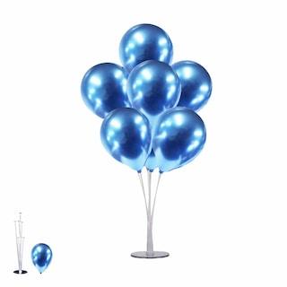 Ayaklı Balon Standı + Mavi Krom Parlak Balonlar Hediye!