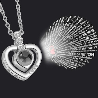 100 Dilde Seni Seviyorum Kalpli 925 Ayar Gümüş Kolye wsn230