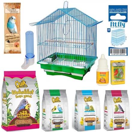 Quik Papağan Muhabbet Kuşu Kafesi Seti