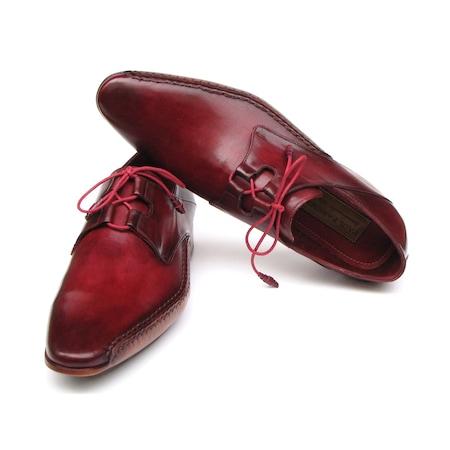Paul Parkman Erkek Ayakkabı Ghillie Bağcıklı Bordo Deri El Boyama