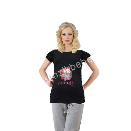 da97bd8530620 Elija Hamile Sürpriz Kısa Kol T-shirt - Siyah - n11.com