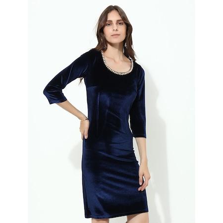 3f2b9f865541f Lacivert Kadife Elbise - n11.com