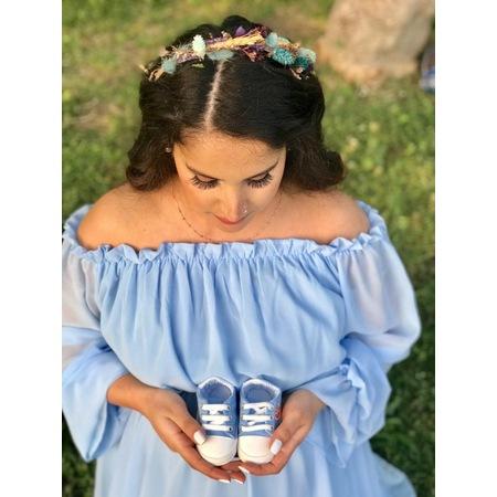 f0013a0fa6fcf Moda Labio - Babyshower Dökümlü Hamile Elbisesi Bebe Mavi - n11.com