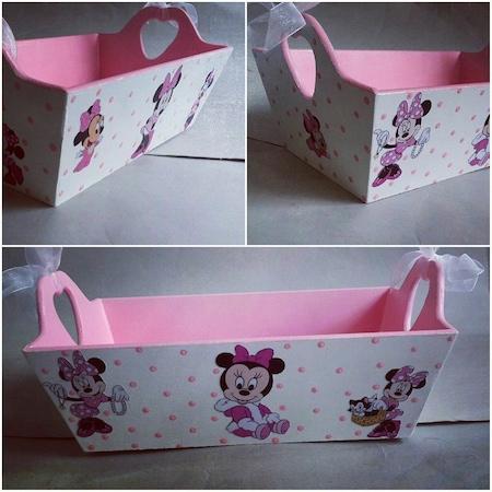Ahşap El Boyaması Bebek şekeri Sepeti Miki Mouse N11com
