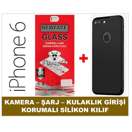Iphone 6 E >> Iphone 6 Kamera Sarj Girisi Korumali Silikon Kilif Kirilmaz Cam E