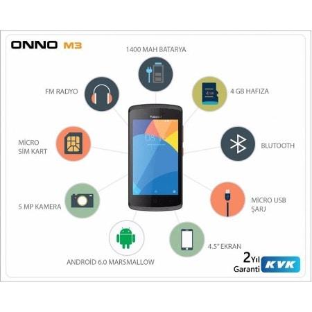 Onno M3 Akıllı Ceptelefonu 8 Gb Hkartı Ve Boyama Kitabı Hediye
