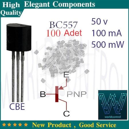 100 Adet Bc557 BC557 Transistor PNP 50V / 100mA / 500mW