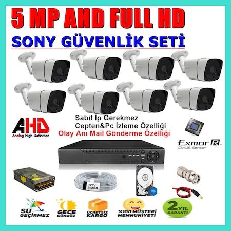 8 Kameralı 5 MP Sony LENS 1080P AHD  Güvenlik Kamerası Sistemleri