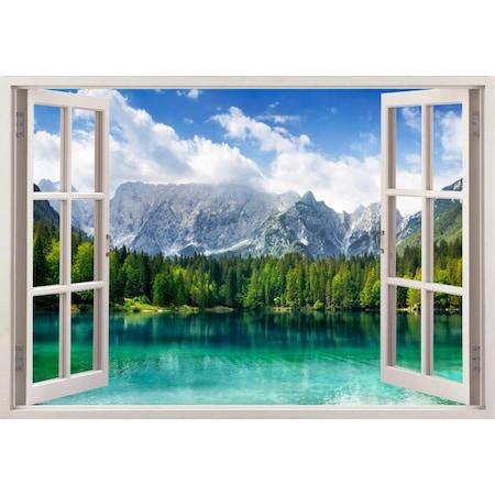 Göl Dağ Manzara 3 Boyutlu Pencere Duvar Kağıdı 70x105 105x150 Cm