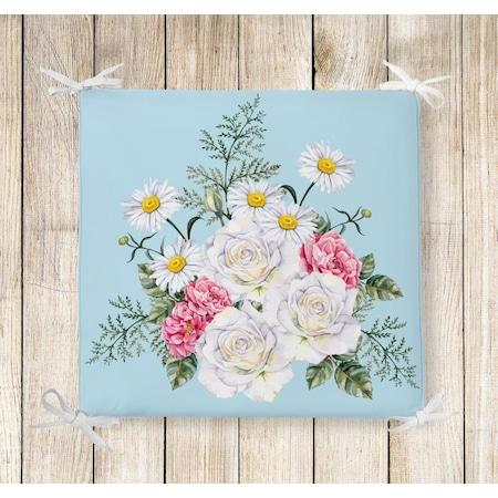 çiçek Sepeti Dekoratif Kare Sandalye Minderi N11com
