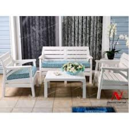 Holidaymiami Set Bahce Mobilyasi Balkon Oturma Grubu Beyaz