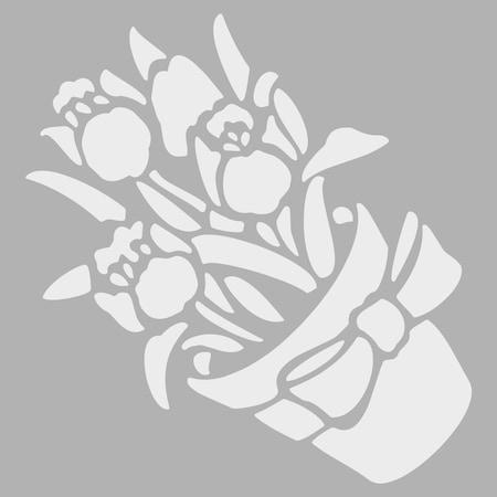 Saksıda çiçek Stencil Tasarımı 30x30 Cm Boyama şablonu N11com