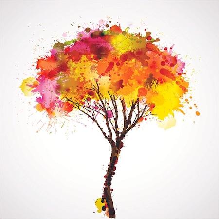 Sulu Boya Etkili Ağaç Yapraklar Sonbahar Fon Perde