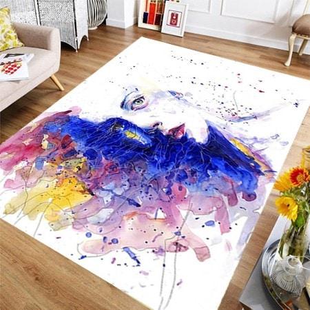 Canlı Renk Art Boya Desen Bayan Halı Genç Ve Oturma Odası Halısı