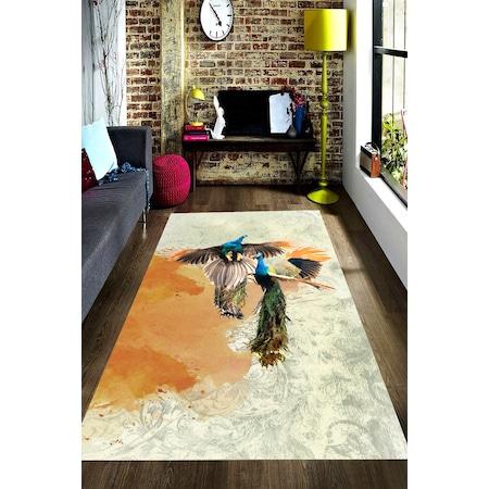 Sulu Boya Efektli Tavus Kusu Desenli Dijital Baskili Hali N11 Com