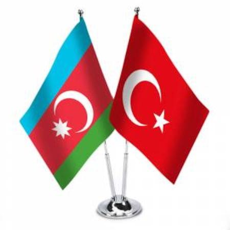 Masa Üstü Azerbaycan Türkiye Bayrağı + İkli Krom Direk Masa Bayra Fiyatları  ve Özellikleri